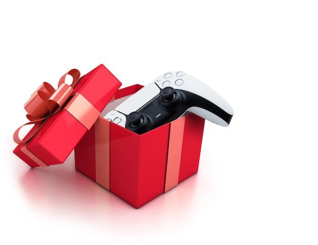 Белый игровой контроллер нового поколения в красной подарочной коробке. идеально подарить деду морозу на рождество.