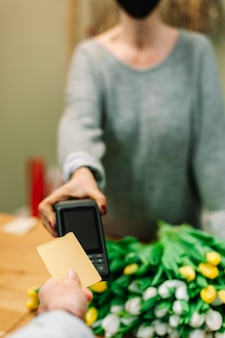 Nfc contactless payment by credit card and pos terminal