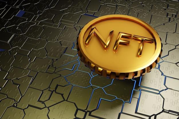 硬い表面のマザーボードの背景3dレンダリング上のnft金貨