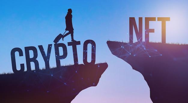 Незаменяемый токен nft. технология блокчейн криптовалюты, концепция будущего крипто-искусства. новое киберпространство и концепция инноваций. фото силуэт человека