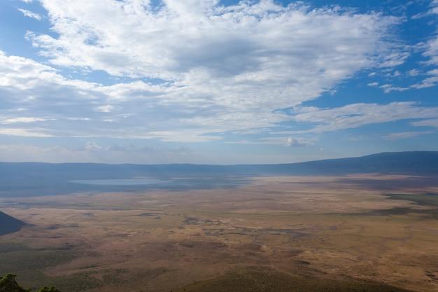 Ngorongoro 분화구 조감도, 탄자니아, 아프리카. 탄자니아 풍경