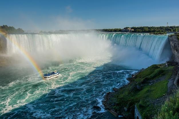 Ниагарский водопад пейзаж, лодка и радуга в канаде.