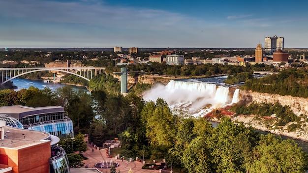 Панорамный вид на ниагарский водопад с канадской стороны