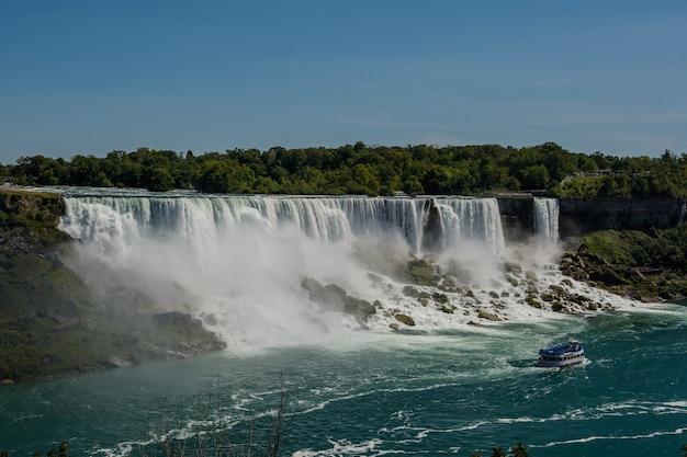 Ниагарский водопад, сша, канада, вид с радужного моста на границе канады и сша Premium Фотографии