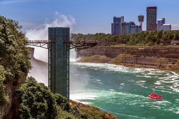 Ниагарский водопад, вид на смотровую площадку реки ниагара с туристической круизной лодкой и городом