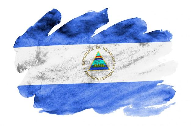 ニカラグアの国旗は、白で隔離される液体水彩風で描かれています