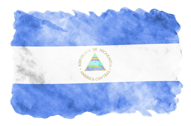 Nicaragua flag is depicted in liquid watercolor style isolated on white