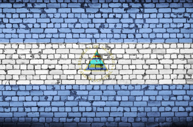 Nicaragua flag is painted onto an old brick wall