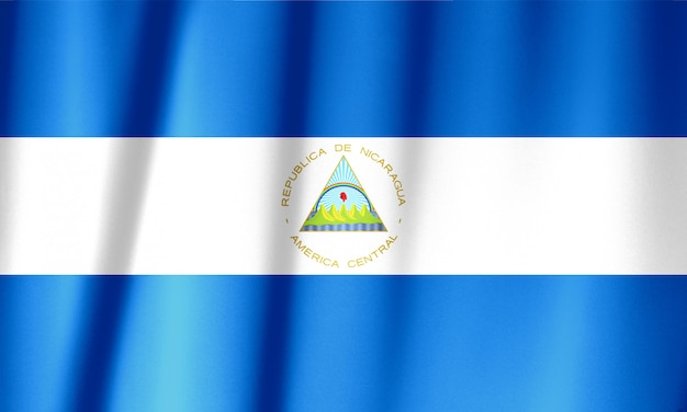 Nicaragua flag pattern on the fabric texture ,vintage style