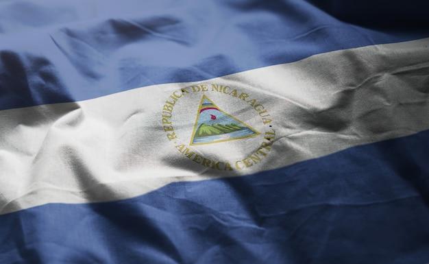 Nicaragua flag rumpled close up