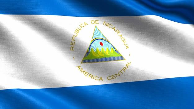 Nicaragua flag, with waving fabric texture