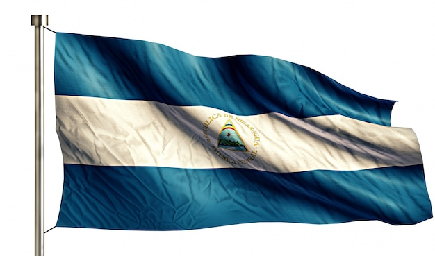 Nicaragua national national flag isolated 3d white background