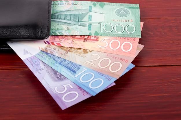 Nicaraguan cordoba in the black wallet