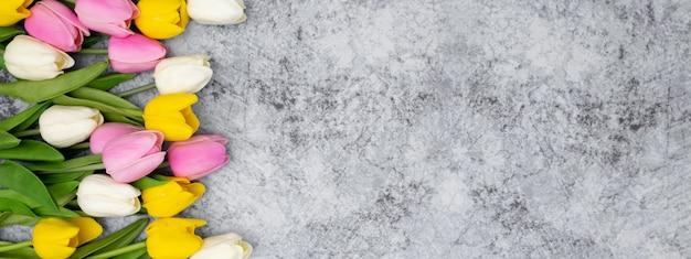 Bel banner per l'intestazione del tuo sito web realizzato con tulipani su una pietra