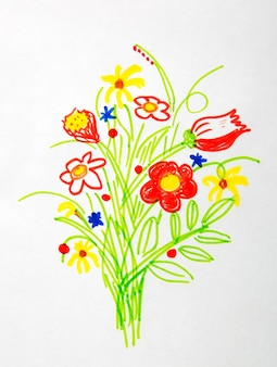 Nice bouquet of flower drawing
