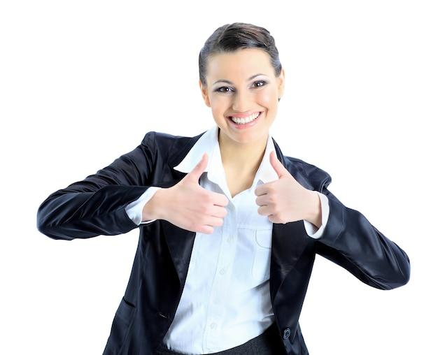 좋은 비즈니스 우먼 엄지 손가락을 지정합니다. 흰색 배경에 고립.