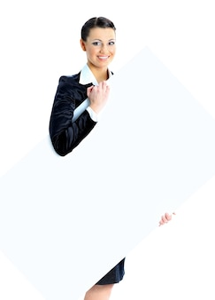 Nice business woman with a white banner. isolated on a white background.
