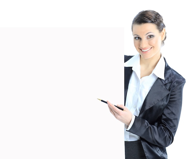 Nice business woman with a white banner isolated on a white background