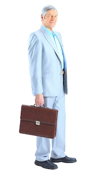 Nice businessman with a portfolio of. isolated on a white background.