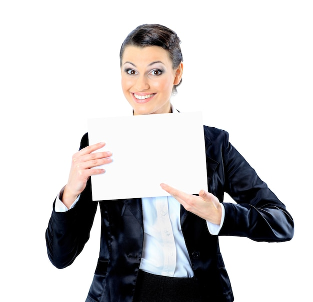 Nice businesswoman with a white banner. isolated on a white background.