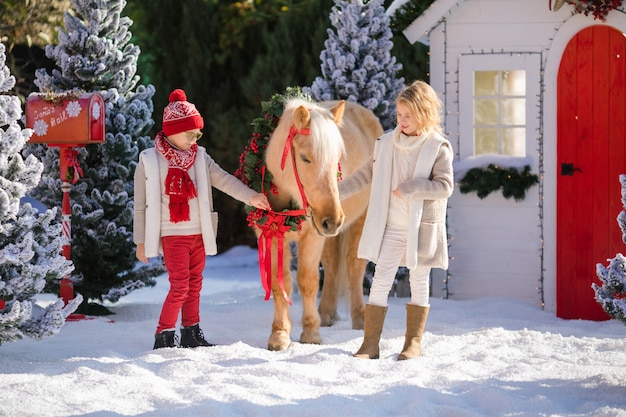 Nice children and adorable pony with festive wreath near snow-covered trees.