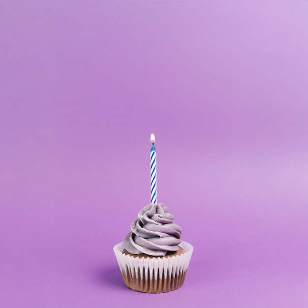 Nice cupcake with candle