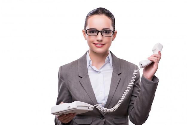 Nice elegant call center operator isolated on white