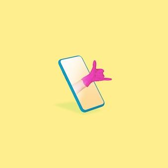 멋진. 노란색 배경에 대해 휴대 전화 화면을 통해 손 몸짓. 코로나바이러스 전염병, 온라인 회의, 단열, 원격 작업 및 통신 중 사회적 거리의 개념.