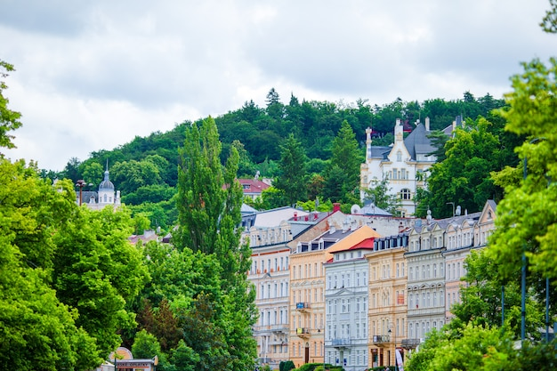 Nice hotels and traditional buildings on sunny town of karlovy vary.