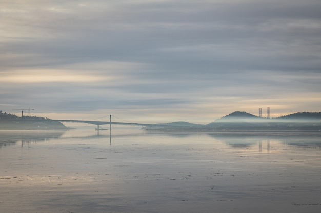 Nice image of the fog over the fjord in kristiansand, with the varodd bridge