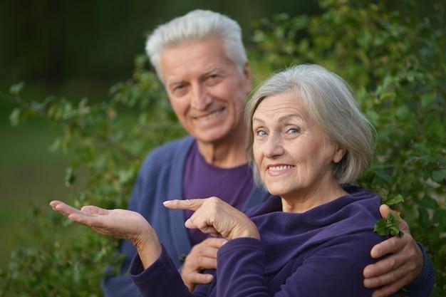 공원에서 좋은 성숙한 커플. 손가락으로 가리키는 여자