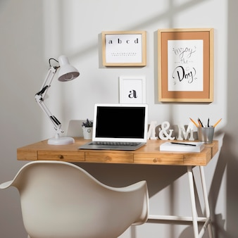 Nice and organised workspace with lamp