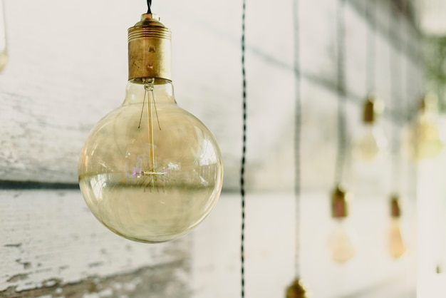 Nice round and transparent light bulb to decorate a living room.
