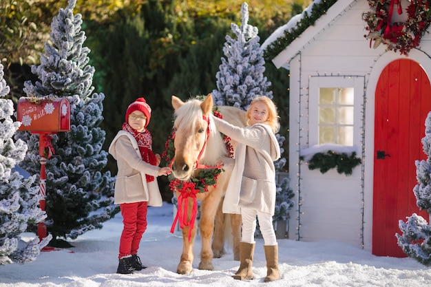 Nice smiling children and adorable pony near the small wooden house