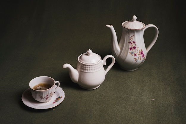 Nice tea set on dark