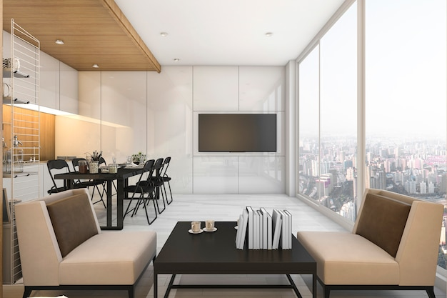 素敵な景色のキッチンとマンションのリビングルーム