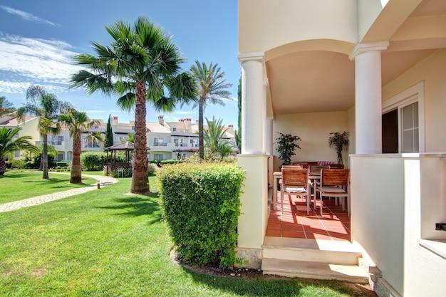 Nice view of the veranda and garden terraces.