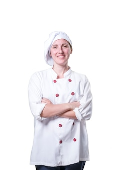 Nice young woman chef with wood utensils