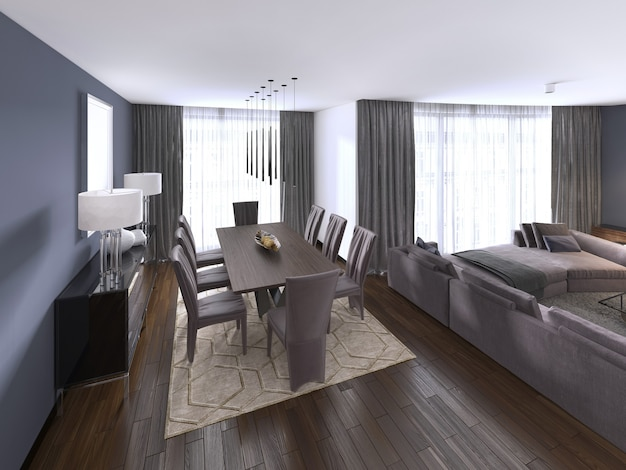 Nicely decorated luxury living, dining room. dining table and some chairs. interior design. 3d rendering