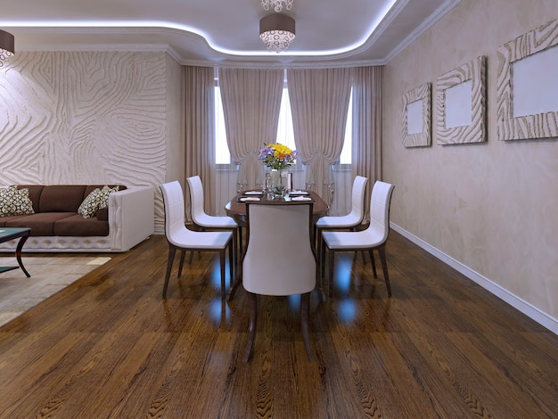 Nicely decorated and served lunch, dining room table. 3d render