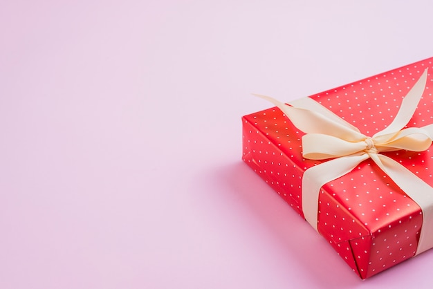Nicely wrapped gift with ribbon