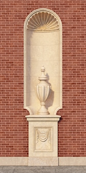 Niche in a classic style with a vase on a brick wall. 3d rendering