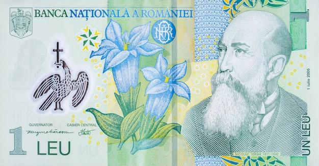 Портрет николая йорга на румынских деньгах 1 лей 2005 банкнота из румынского банка