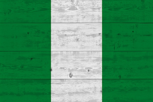Nigeria flag painted on old wood plank