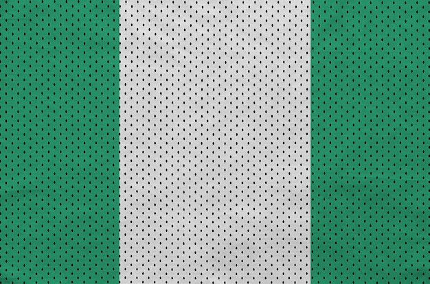 Nigeria flag printed on a polyester nylon sportswear mesh fabric