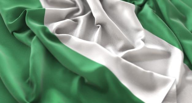 Nigeria flag ruffled beautifully waving macro close-up shot