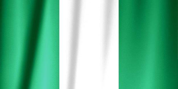 Nigeria flag on a silk drape