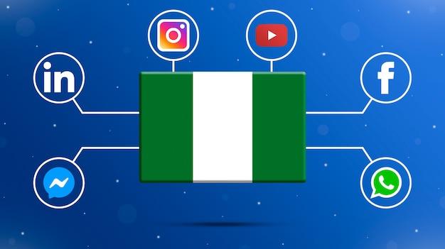 Nigeria flag with social media logos 3d