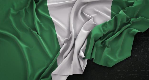 어두운 배경에 주름 나이지리아 플래그 3d 렌더링