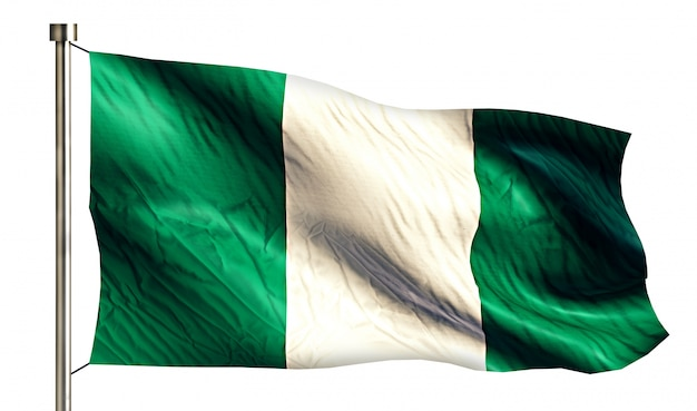 Nigeria national flag isolated 3d white background